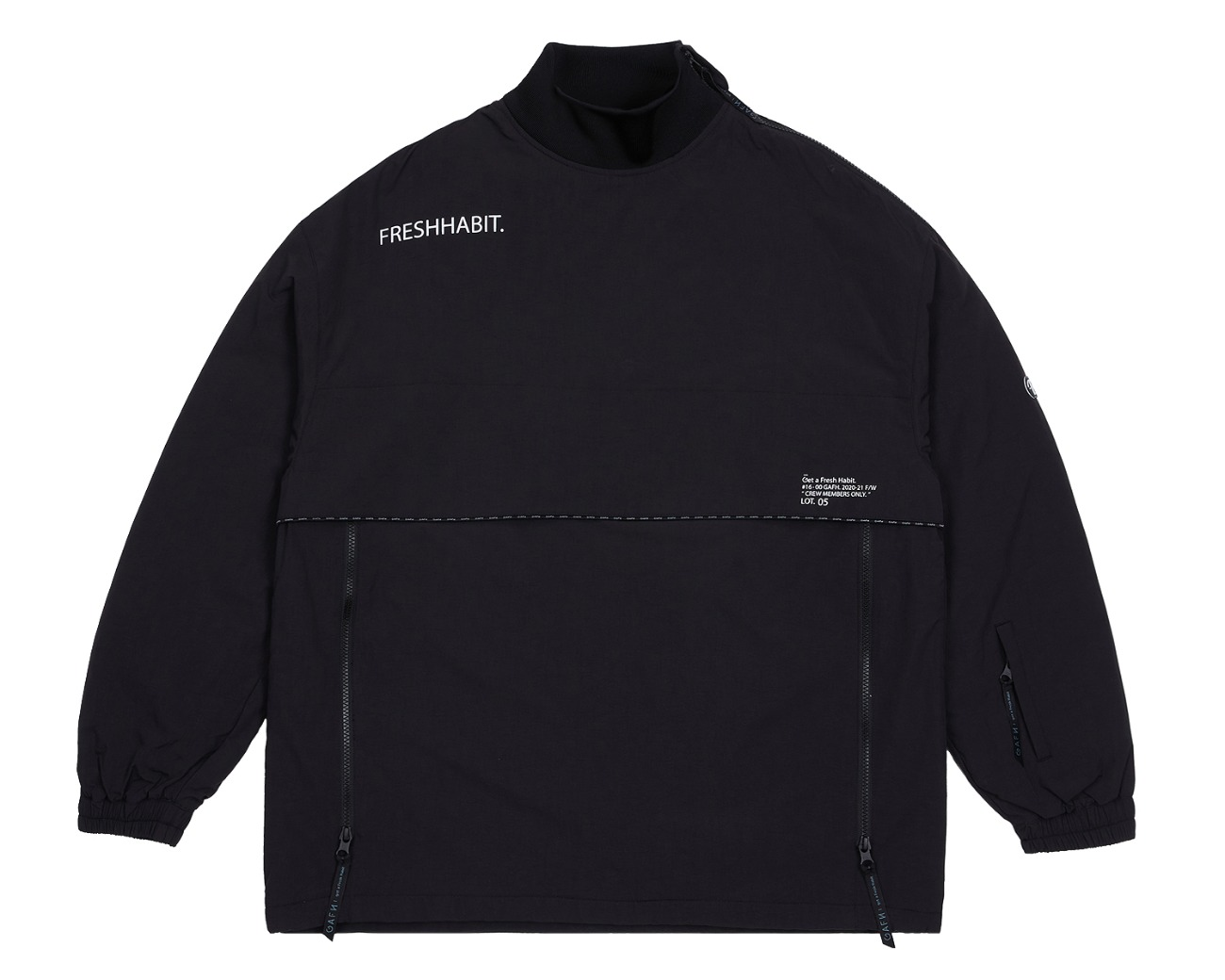 SHOULDER ZIP UP PULLOVER BLACK / GAFH